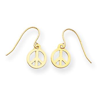 14k Yellow Gold Polished Kidney wire Peace Sign Drop Earrings - .3 Grams - Measures 15x8mm