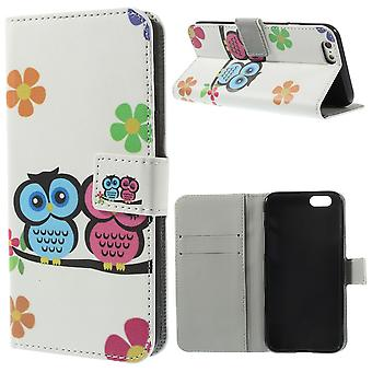 Protective case pouch (flip cross) for mobile phone Apple iPhone 6 plus-loving owls pair