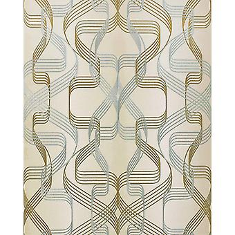 EDEM 507-23 graphic wallpaper designer wallpaper textured with abstract pattern and metallic accents of creamy white perl-gold silver 5.33 m2
