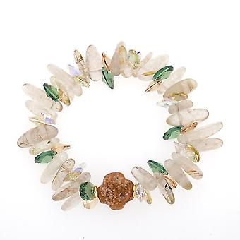 14K Gold Plated Austrian Crystals And Shells Bracelet, 16cm