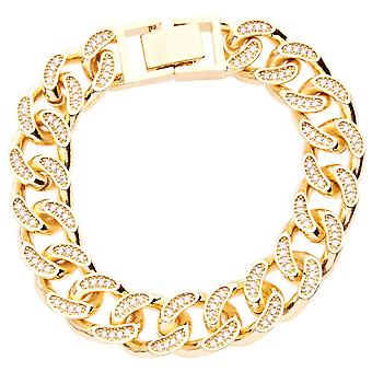 Iced out BOLD solid hip hop bracelet - BLING CURB 14mm gold