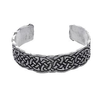 Handmade Celtic Interlace Knotwork Matte Finish Pewter Cuff Bracelet (Adjustable) ~ For Men