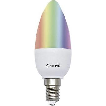 LED E14 Candle 5 W = 25 W RGBW (Ø x L) 37 mm x 100 mm EEC: A LightMe colour-changing, dimmable, incl. remote control 1