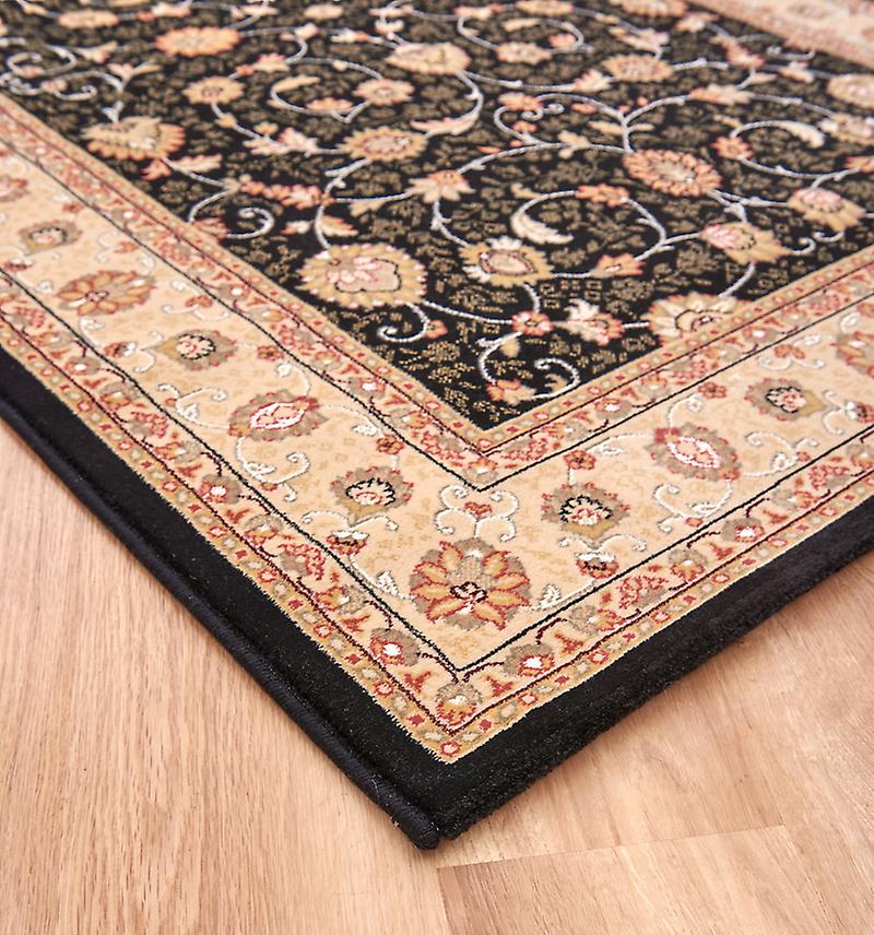 Ädla konst 6529-090 svart marken med elfenben och guld ram rektangel mattor traditionella mattor