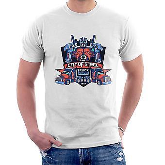 Ciudad de robar Optimus Prime carro Show Transformers camiseta de los hombres