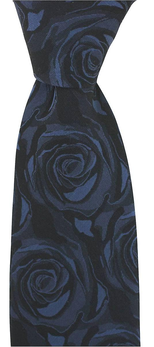 David Van Hagen Wedding Rose Silk Tie - Navy