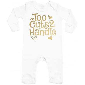Spoilt Rotten Too Cute 2 Handle Baby Sleepsuit With Scratch Mitts