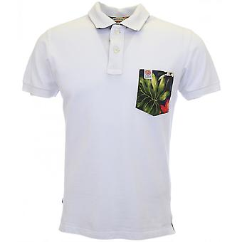 Franklin & Marshall 2-button Flower Print White Pocket Polo