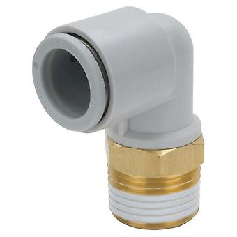 SMC Pneumatic Elbow Threaded-To-Tube Adapter, R 1/8 Male, Push In 10 Mm