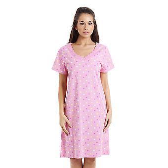 Camille multi farvede stjerne Print lys Pink bomuld natkjole