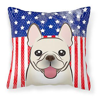 American Flag and French Bulldog Fabric Decorative Pillow