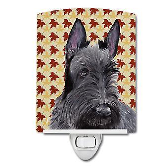 Scottish Terrier Fall Leaves Portrait Ceramic Night Light