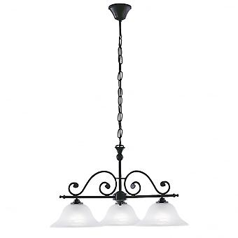 Eglo 3 luz colgante tradicional Fini negro luz de techo