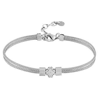Fine Sterling Silver Womens Bracelet with Rose Charm in Swarovski White Cubic Zirconia Stones