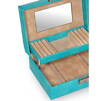 Jewelry box jewelry boxes Jewelry Turquoise Sacher fine synthetic suede official mirror