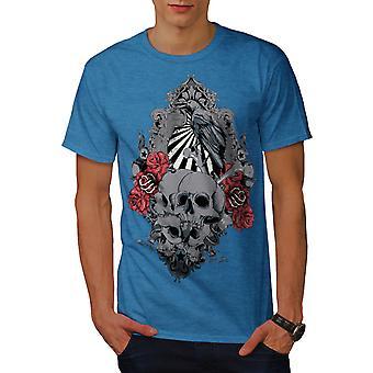 Rose Krähe gruselige Schädel Männer Royal BlueT-Hemd   Wellcoda