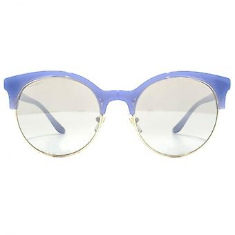 Versace Round Browline Style Sunglasses In Opal Azure Pale Gold