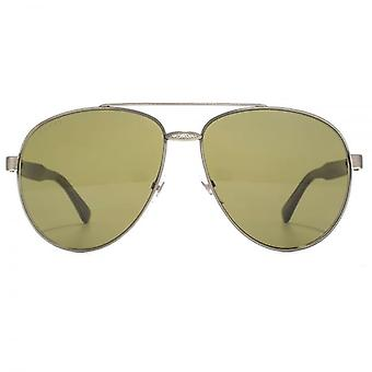 Gucci Iconic Pilot Sunglasses In Silver Horn