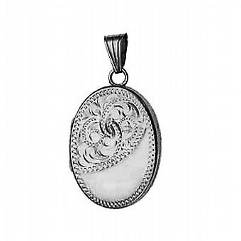 Silver 26x19mm oval flat half hand engraved Locket