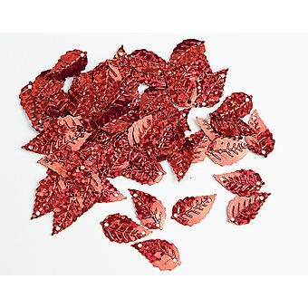 2.5g Red Leaf Holographic Sequins with Holes for Pins | Sequin Craft Supplies