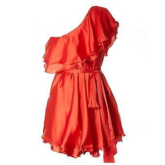 Für immer einzigartige Satin eine Schulter kurzes Kleid