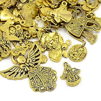Packet 30 Grams Antique Gold Tibetan 5-40mm Fairy Charm/Pendant Mix HA07425