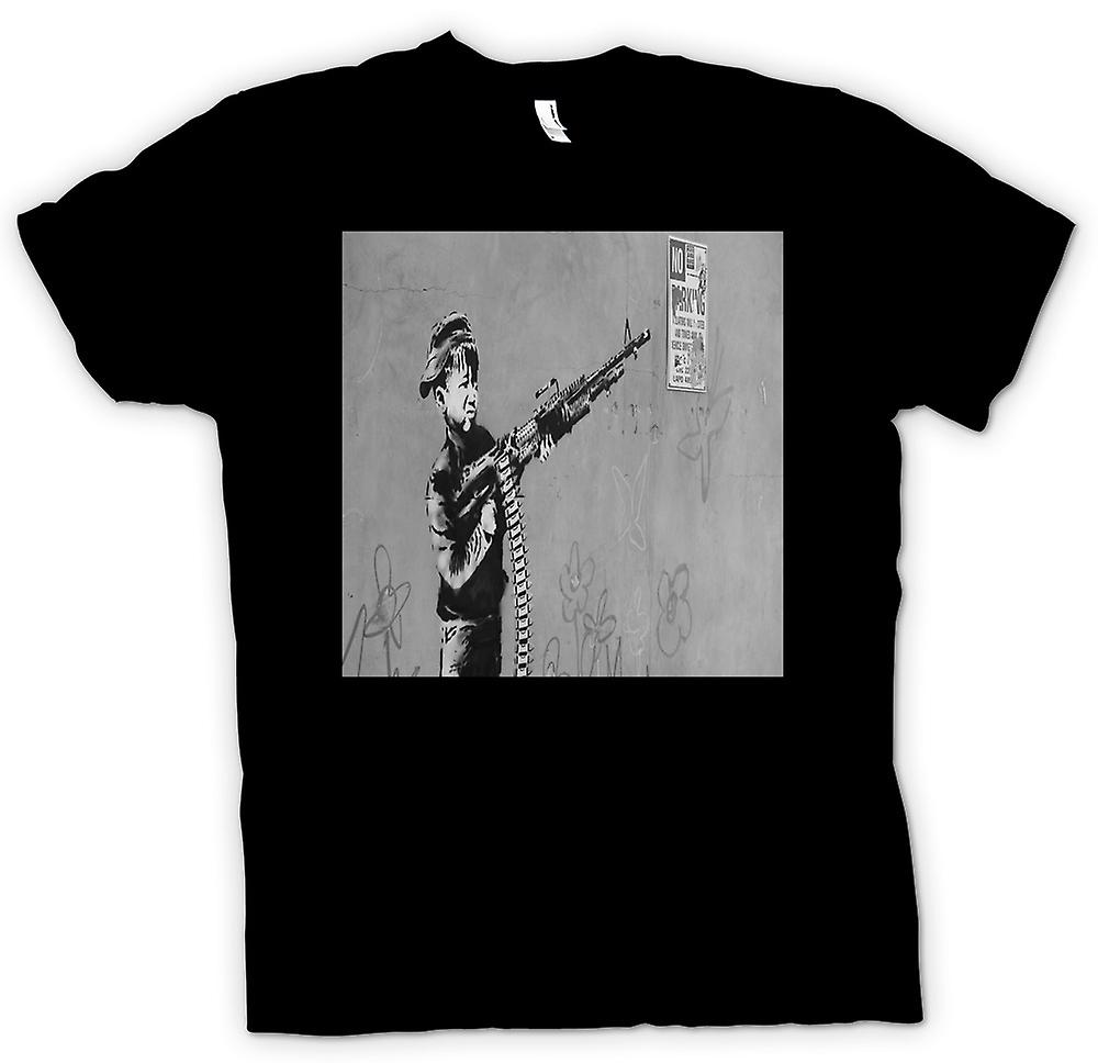 Kids t-shirt-Kid Banksy con M60 Machien pistola de pared de diseño