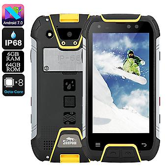 Snopow M10 Barsk telefon - Octa Core CPU, 6GB RAM, IP68, 4G, Android 7.0, 5,0 tommers FHD vise, 6500mAh batteri (gul)