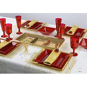 Party tableware romantic set for 6 guests 60-teilig party package red gold party package