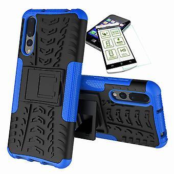Für Huawei P20 Pro Hybrid Case 2teilig Blau + Hartglas Tasche Hülle Cover Hülle