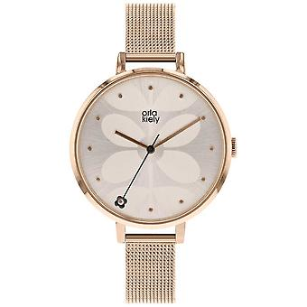 Orla Kiely Womens Ivy Rose Gold Mesh relógio do bracelete OK4064
