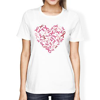 Pink Ribbon Heart Cancer Awareness Shirts For Women White Cotton