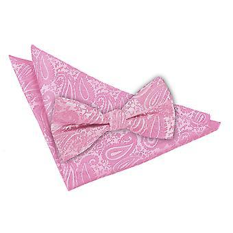 Corbata de lazo de Paisley rosa bebé y conjunto Plaza de bolsillo