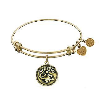 Smooth Finish Brass Scorpio October Angelica Bangle Bracelet, 7.25