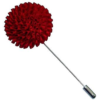 Bassin and Brown Chrysanthemum Flower Jacket Lapel Pin - Red