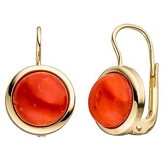 Boutons around 333 Gold Yellow Gold 2 red coral earrings gold earrings