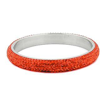 Roestvrij stalen armband Frost zilveren 6 nld van glas oranje RVS blokken