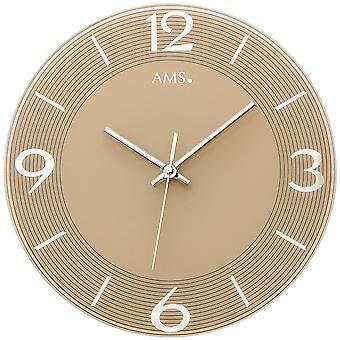 Murale ne horloge quartz analogique rond verre brun silencieux aucune tique