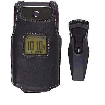 Wireless Solutions Leather Case for Samsung SPH-M320 - Black