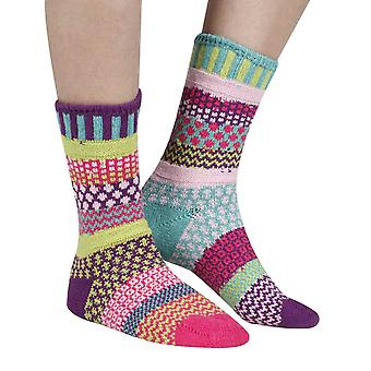 Dahlia recycled cotton multicoloured odd-socks   Crafted by Solmate