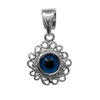 Charm-Anhänger Sterling Silber filigran Doppel doppelseitigen Evil Eye