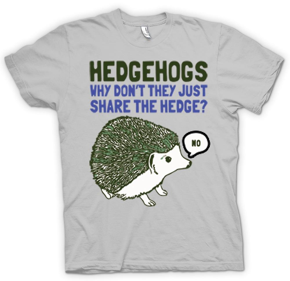 Mens T-shirt - Hedgehogs Why Don't They Just Share The Hedge?