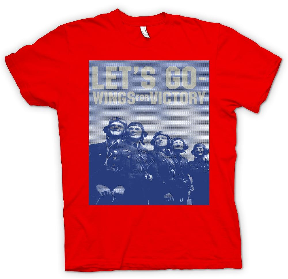 Mens T-shirt - Lets Go - Wings For Victory - RAF - Royal Airforce