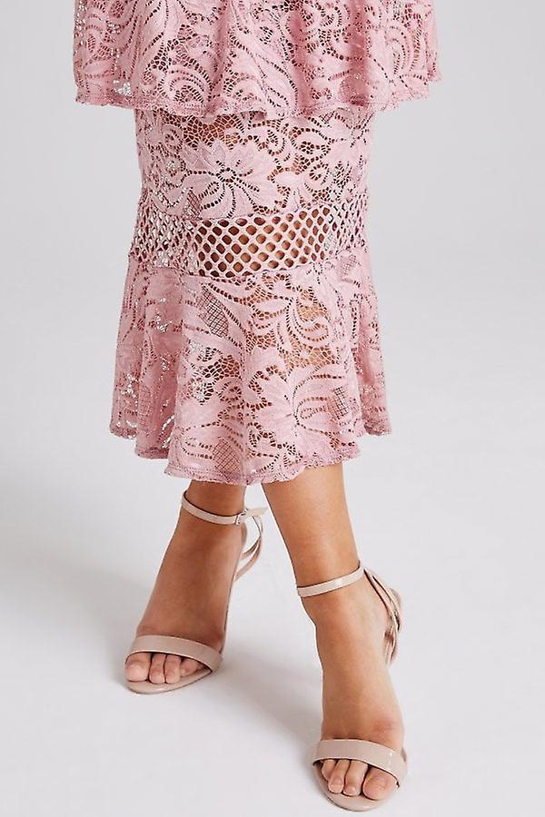 d51557470062 Girls on Film Born Dusty Pink Tiered-Ruffle Midi Dress