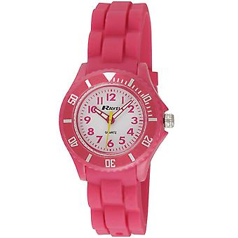 Ravel Analogue Rotating Bezel Hot Pink Silicone Strap Children's  Watch R1802.5