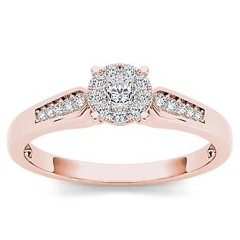 IGI Certified 10k Rose Gold 0.25 Ct Round Cut Diamond Cluster Engagement Ring