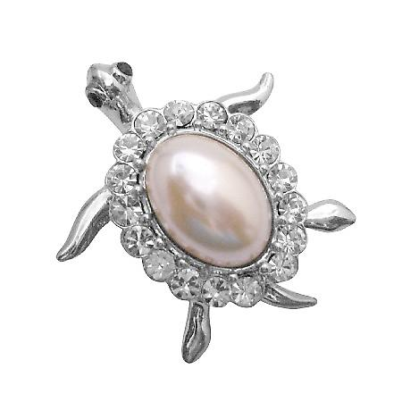 Very Cute Turtle Brooch Pin White Shell Surrounded with Clear Crystals