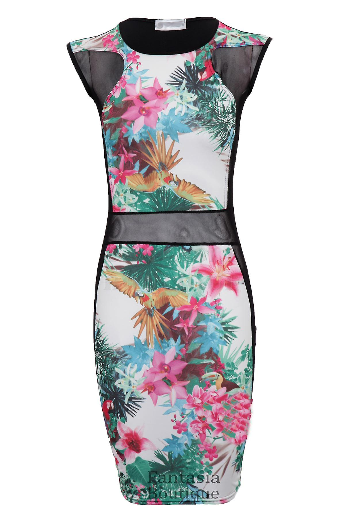 New Ladies Sleeveless Flower Print Mesh Insert Bodycon Women's Dress