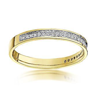 9 قيراط خاتم نجمة صفراء الذهب قيراط 0.15 جولة الخلود الماس 3 مم خاتم الزواج