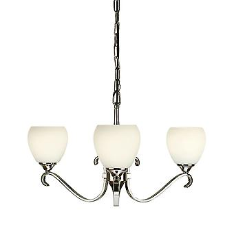 Columbia Nickel Three Light Ceiling Pendant With Opal Glass Shades - Interiors 1900 63445